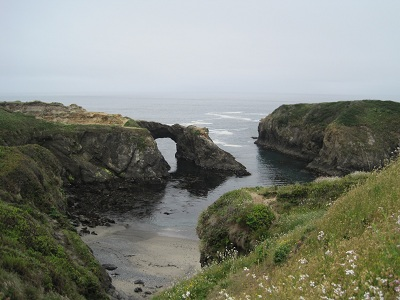 the beautiful headlands with an arch rock in mendocino, ca